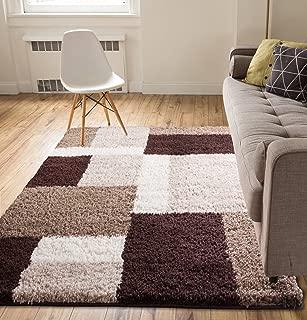 Shag Cubes Modern 5x7 ( 5' x 7'2'' ) Area Rug Brown Plush Geometric Blocks & SquaresEasy Care Thick Soft Living Room