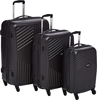 American Tourister Trillion Hardside Spinner Luggage Set of 3, with TSA Lock - Black