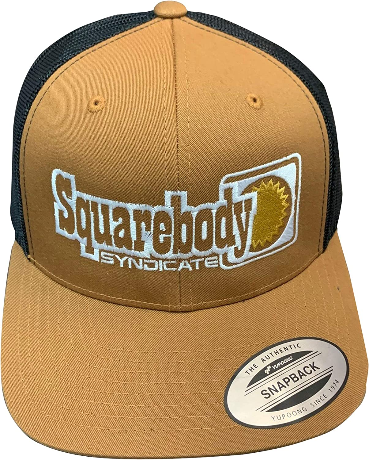 Squarebody Syndicate Camel and Brown Snapback Curved Bill Hat for Men