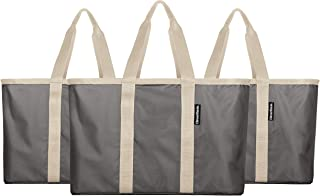 CleverMade SnapBasket Reusable Grocery Shopping Bag - Large Eco-Friendly Durable Collapsible Tote with Reinforced Bottom, Charcoal/Cream, 3 Pack