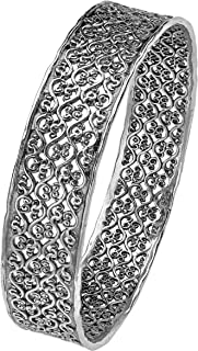Paz Creations 925 Sterling Silver Lace Design Bangle