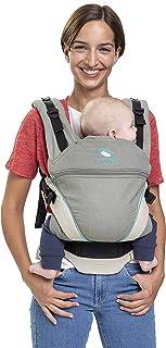 Babytrage manduca XT Cotton/grey-ocean/All-In-One Babytrage für Neugeborene, verstellbarer Sitz, 3 Trage Positionen, Bio-Baumwolle, für Babys von 3,5 bis 20 kg grau-türkis