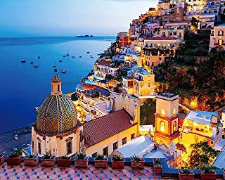 TUMOVO Paint by Numbers for Adults, Amalfi Coast Italy Paint by Numbers, Positano Town DIY Paint by Numbers Kits, Frameles...