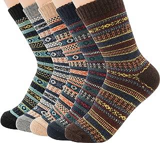 Zando Athletic Sports Knit Pattern Womens Winter Socks Crew Cut Cashmere Retro Thick Warm Soft Wool Socks