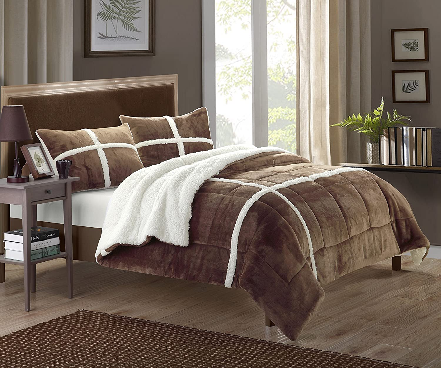 Chic Home 7 Minneapolis Mall Piece Chloe Sherpa Bed Set At the price of surprise with in Wh Comforter Bag