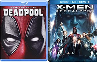 Marvel Cinematic Universe Super Hero Team Up X-Men: Apocalypse (Blu-ray +DVD + Digital HD) and Deadpool (Blu-ray +DVD + Digital HD) 2-Blu-ray/DVD Bundle Double Feature