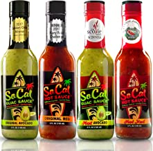 Guac & Hot Sauce Variety Pack   Gift Sets in a Custom Box  4 Bottle Sampler  2 Mild Ones  2 Hot Ones  Avocado Sauce   Guacamole Salsa Verde  Red Salsa Roja  Craft Taco Sauce   Real Avocados   By SoCal