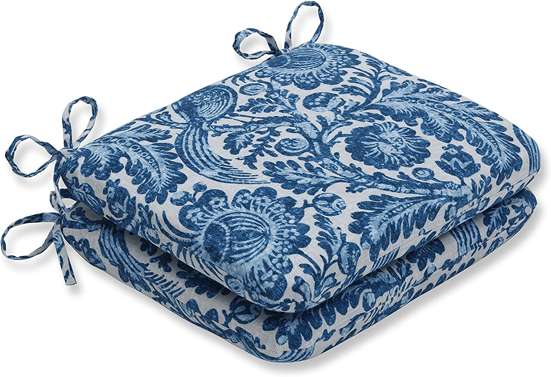 Pillow Perfect Outdoor Cushion, 620916, 100% T-Spun Polyester, bluee, 18.5  x 15.5  x 3