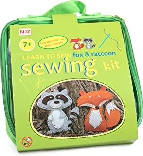 Sewing Kit For Kids Age 7 to 12. Learn How To Sew raccoon and fox. Easy Diy Craft Felt Animals Sewing With Big Holes For Beginners.