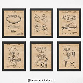 Original Football Patent Poster Prints, Set of 6 (11x14) Unframed Photos, Great Vintage Wall Art Decor Gifts Under 40 for Home, Office, Man Cave, Gym, College Student, Teacher, Coach, NFL Pigskin Fan