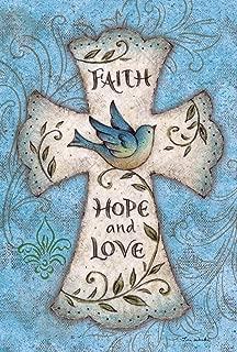 Toland Home Garden Hope and Love 28 x 40 Inch Decorative Blue Bird Religious Cross Easter Faith House Flag