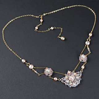 Festoon Necklace with Cultured Freshwater Blush Pearls, Long Backdrop in 14K Gold Filled