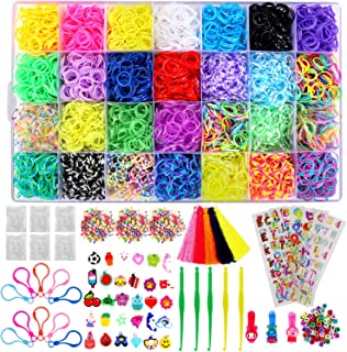 12,000+ Rainbow Rubber Bands Refill Set Includes: 11,800 Premium Loom Bands 28 Unique Colors, 600 Clips, 300 Beads, + 52 ABC Beads to Personalize your bracelet, 30 Charms, 10 Backpack Hooks, Organizer