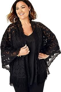 Women's Plus Size Lace Kimono with Fringe