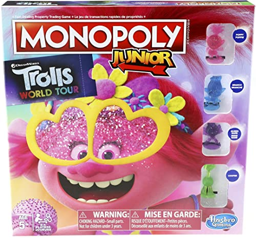 Monopoly Junior - DreamWorks Trolls World Tour Edition - 2 to 4 Players - Kids Board Games & Toys for boys, girls - A...