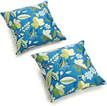 Blazing Needles Indoor/Outdoor Spun Poly 20-Inch by 20-Inch by 6-Inch Throw Pillow, Skyworks Caribbean, Set of 2