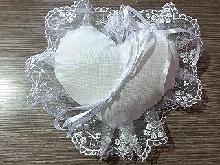 Crociedelizie, Cuscino portafedi cuscinetto fedi in tela aida rifinitura volant in organza lavorata o semplice forma quadr...