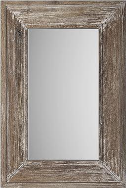 "24"" x 36"" Barnyard Designs Decorative Wood Frame Wall Mirror, Large Distressed Rustic Farmhouse Mirror Decor, Vertica"