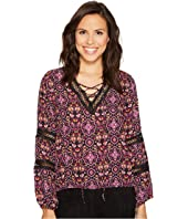 ROMEO & JULIET COUTURE - Trim Detailed Printed Top
