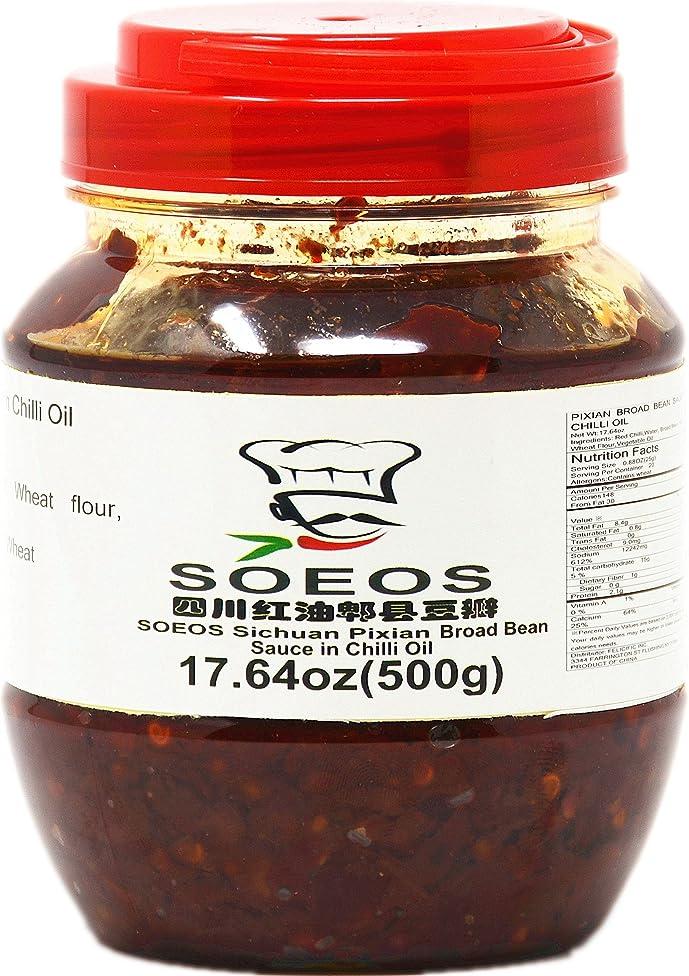 SOEOS Sichuan Pixian Boad Bean Paste with Chili Oil, Hongyou Doubanjiang with Red Chili Oil, Pixian Doubanjiang Chili Paste in Red Chili Oil (17.64oz Canister).