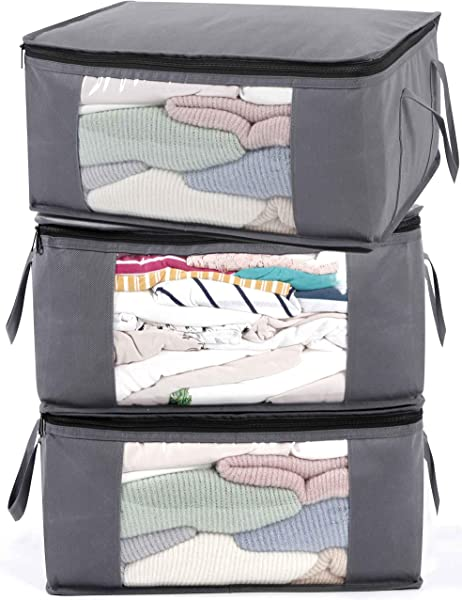 ABO Gear Storage Bins Storage Bags Sweater Storage Clothes Storage Containers 3pc Pack Gray