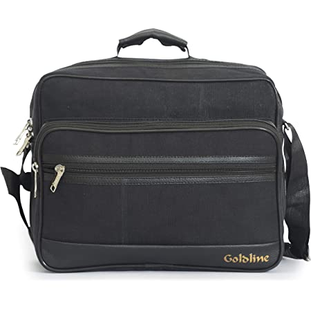GOLDLINE Multipurpose Tool Bag for Mechanics, Electrician & Technicians/Canvas Messenger Bag with 6 Pockets & Compartments, 21L Capacity, Waterproof Cardboard Support Bottom(35 x 23 x 26 cm, Black)