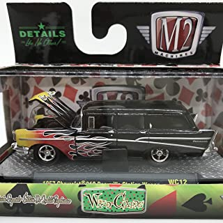 M2 Machines Wild-Cards 1957 Chevrolet 210 Beauville Station Wagon WC12 16-52 Black/Yellow Red Flame Details Like NO Other! 1 of 3480