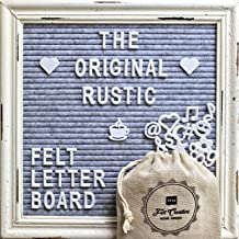 Gray Felt Letter Board with Rustic White Wood Farmhouse Vintage Frame and Stand by Felt Creative Home Goods   10x10 Inch Antique Changeable Message Board 350 White Alphabet Letters, Numbers, Emojis