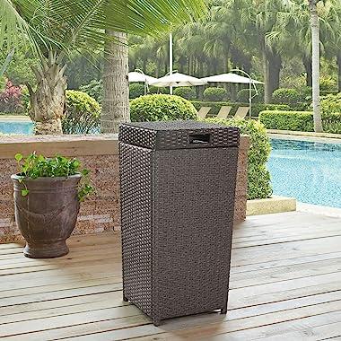 Crosley Furniture CO7301-WG Palm Harbor Outdoor Wicker Trash Bin, Grey