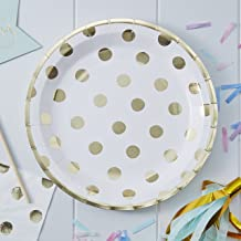 Ginger Ray PM-901 Pick And Mix Foiled Polka Dot Paper Party Plates (8 Pack), Gold