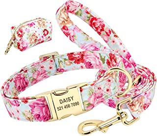 Beirui Personalized Dog Collar and Leash Set with Cute Bag - Floral Pattern Laser Engraving Pet ID Collars,Convenient for ...