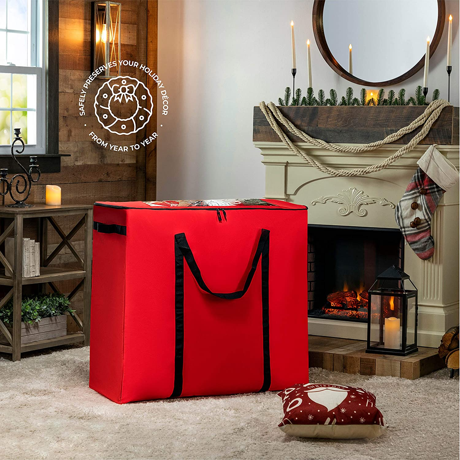Giftwrap Seasonal//Christmas XLarge Rolling Accessory Storage Bag//Container Xmas Decoration Storage Bag for All Christmas Decorations Perfect for Tabletop Trees Ornaments Garlands Figurines Etc.