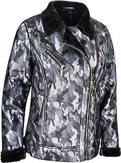 Majamo - Chaqueta de camuflaje para mujer, chaqueta de invierno forrada con estampado de camuflaje, chaqueta corta de entr...
