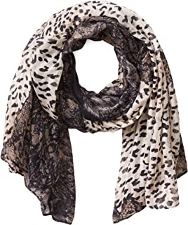 La Fiorentina Women's Animal Print Scarf with Lace Trim