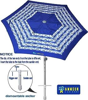 AMMSUN 8ft Fiberglass Ribs Commercial Grade Patio Beach Umbrella with Air- Vent Separate Sand Anchor & Carry Bag Navy Blue White Stripe