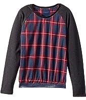 Fancy Flannel Sweatshirt w/ Sparkle Belt (Toddler/Little Kids/Big Kids)