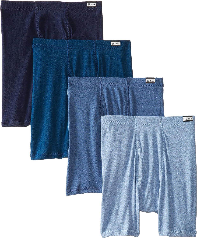 Hanes Men's 4-Pack FreshIQ Blue Label Boxer Brief with ComfortFlex Waistband, Assorted, Medium