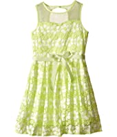 Us Angels - Daisy Lace Sleeveless Illusion Sweetheart Bodice w/ Full Skirt (Big Kids)