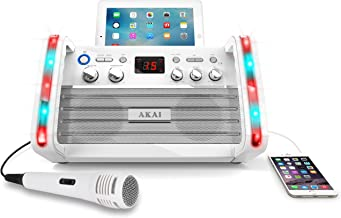 Akai KS213W Portable CD&G Karaoke System with Tablet Cradle, White