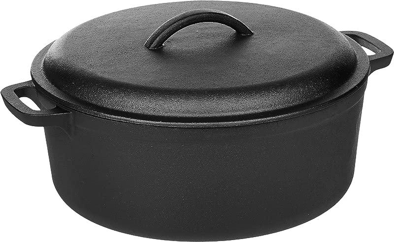 AmazonBasics Pre Seasoned Cast Iron Dutch Oven Pot With Lid And Dual Handles 7 Quart