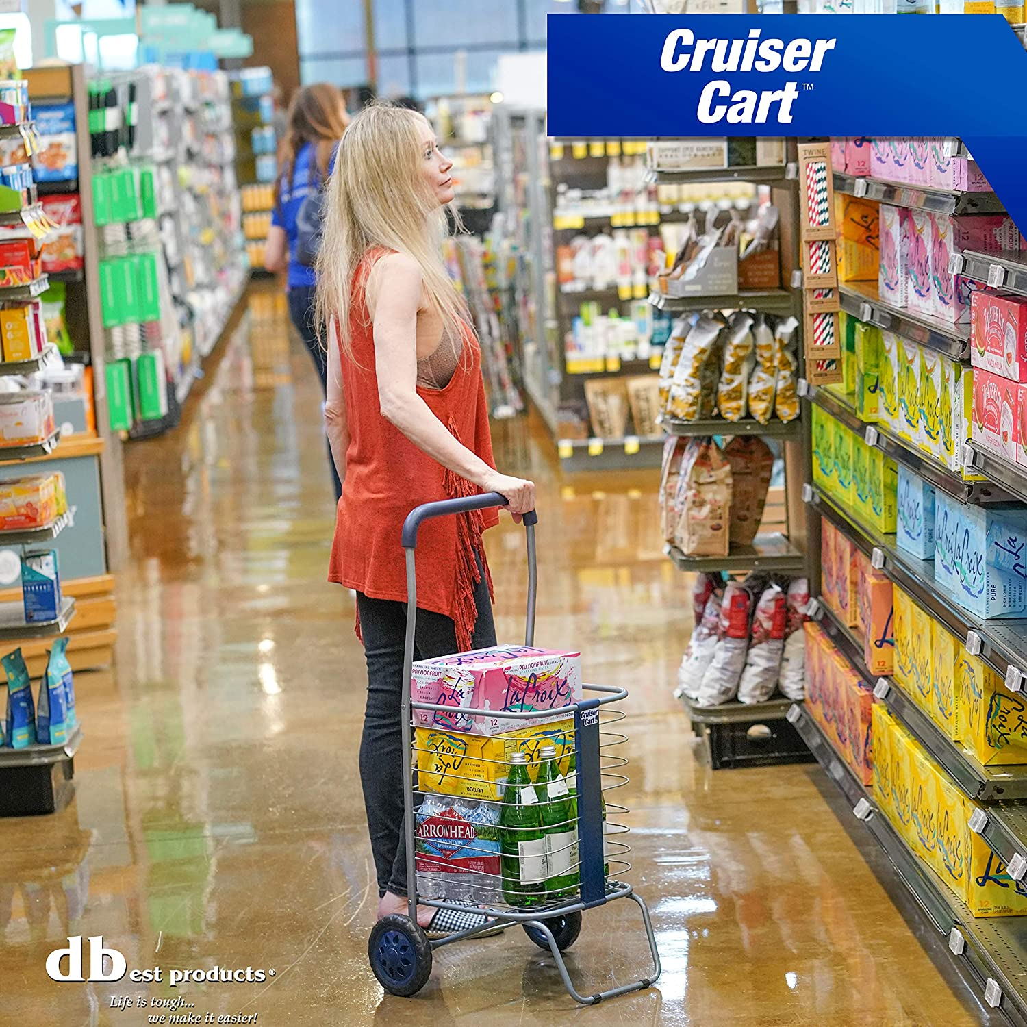 dbest products Cruiser Flex Shopping Cart with Bag Cover Grocery Rolling Folding Laundry Basket on Wheels Foldable Utility Trolley Compact Lightweight Collapsible Black