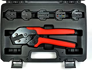 ConnectoRF Quick Interchangeable Ratchet Crimping Tool Kit with Plastic Case for Insulated & Non-insulated Wire Terminals Crimper With 5 Die Sets