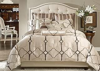 Michael Amini 9 Piece Keystone Court Comforter Set, Queen, Beige/Green/Tan
