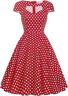 Belle Poque Women Vintage 1950s Short Sleeve Hollowed Front Cocktail Swing Dress BP08