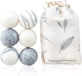 Eco Wool Dryer Balls, 100% Pure Wool, 6 Pack, XL - Natural Reusable Laundry Ball Set - Extra-Large, Eco-Friendly, Dryer Sheets and Fabric Softener Alternative - Energy Saving, Reduces Drying Time