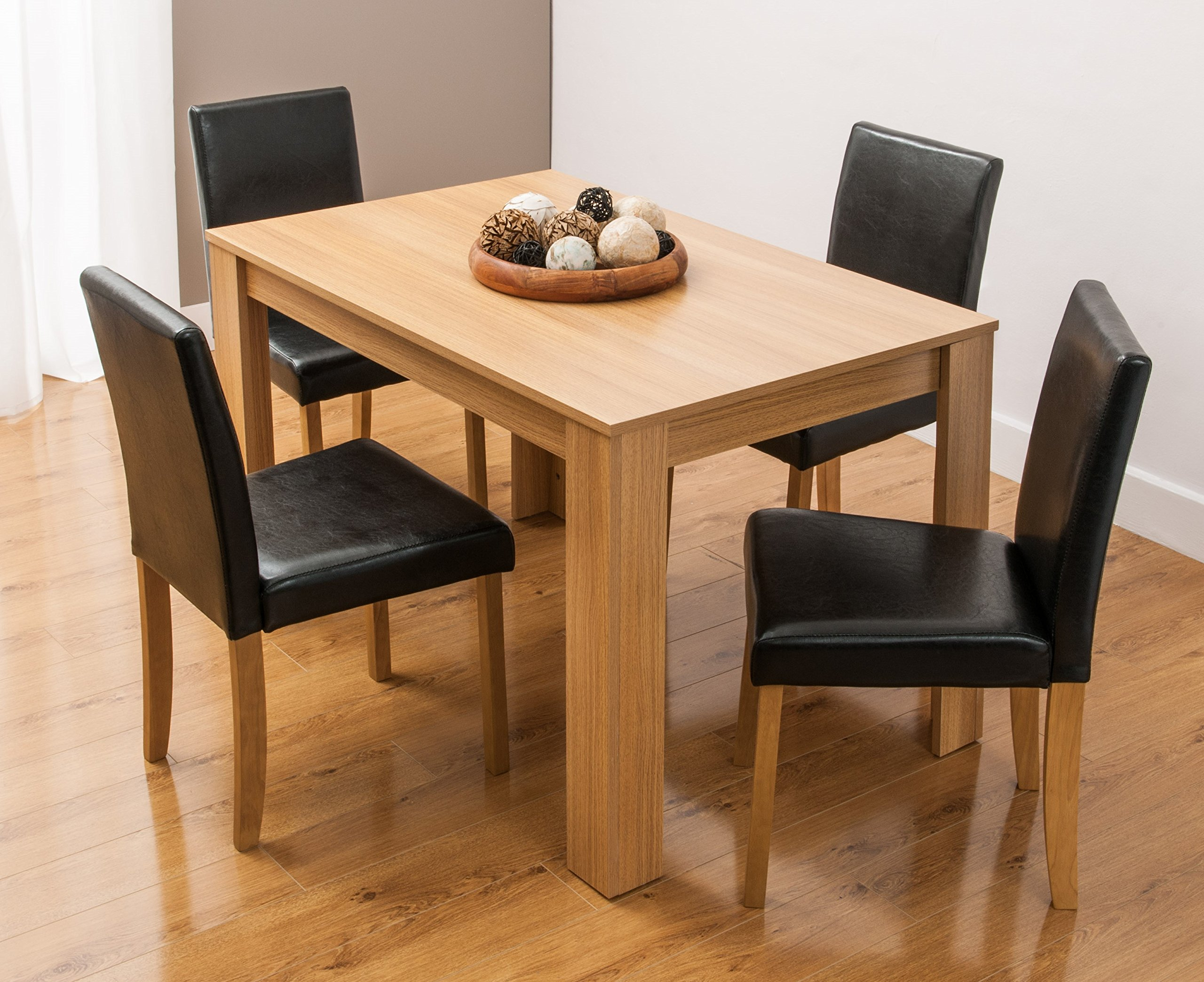 Dining Table and 11 Chairs with Faux Leather Oak Furniture Room Set