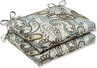 Pillow Perfect Outdoor Tamara Paisley Quartz Squared Corners Seat Cushion, Set of 2