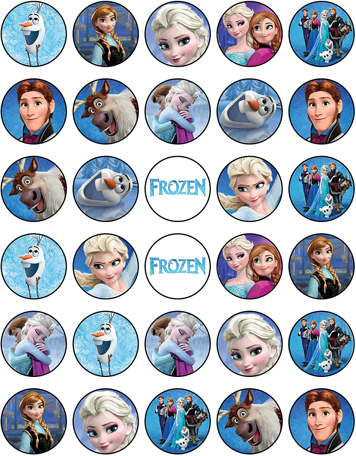 Amazon Com 30 X Edible Cupcake Toppers Frozen Themed Anna And Elsa Party Collection Of Edible Cake Decorations Uncut Edible Prints On Wafer Sheet Grocery Gourmet Food