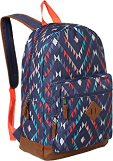 17.5-Inch Blue Canvas Navajo-Print School Backpack,  Childrens Student Book Bag