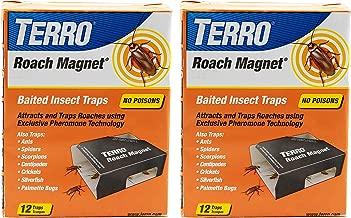 Terro T256SR 2-Pack Pheromone Technology-24 Roach Magnet Exclusive Pheromone-24 Traps, 2 Pack, Black